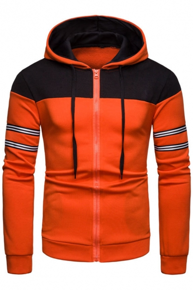 Men's New Chic Colorblock Striped Long Sleeve Fitted Zip Up Hoodie