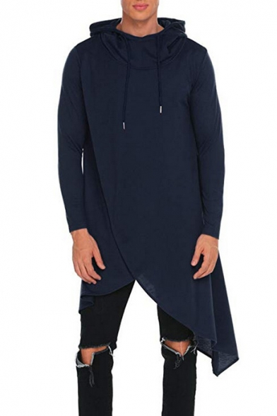 Men's Stylish Simple Solid Asymmetrical Hem Longline Relaxed Reconstructed Drawstring Hoodie