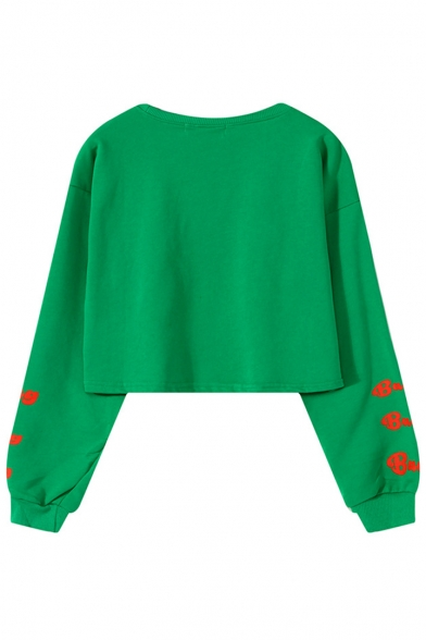 Round Neck Long Sleeve Cartoon Letter FOUR BOX Print Cropped Loose Sweatshirt