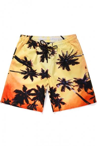 Summer Coconut Palm Print Men's Drawstring Waist Beach Yellow Swim Shorts with Pocket