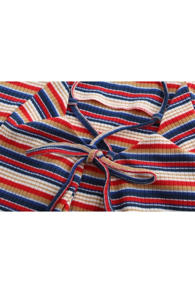 Summer New Stylish Red Striped Printed Sexy Open Back Mini Bodycon Slip Dress