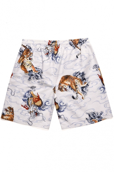 Summer Stylish Tiger Printed Drawstring Waist Quick Dry Beach Surf White Swim Trunks for Men