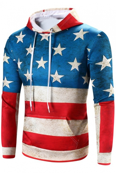 Trendy Colorblock Star Flag Printed Long Sleeve Fitted Blue and Red Hoodie