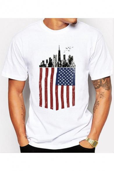 Unique America Flag City Building Print Basic Short Sleeve White T-Shirt for Men
