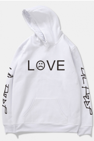 American Rapper Unique Letter LOVE Sad Face Pattern Loose Fitted Pullover Hoodie