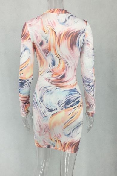 Women's Fashion Tie Dye Tornado Printed Long Sleeve Stand-Collar Bodycon Mini Dress