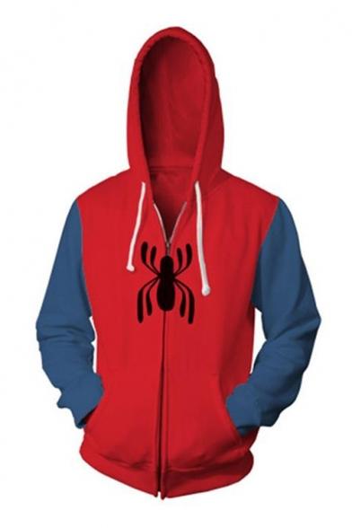3D Colorblock Spider Printed Long Sleeve Zip Front Red Drawstring Hoodie