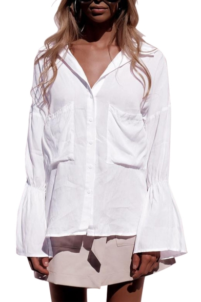 Купить со скидкой Basic Simple Plain Fashion Flared Cuff Long Sleeve Dipped Hem Button White Shirt