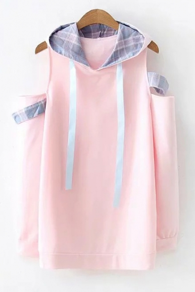 Cute New Arrival Long Sleeve Cold Shoulder Plaid Ribbon Leisure Hoodie