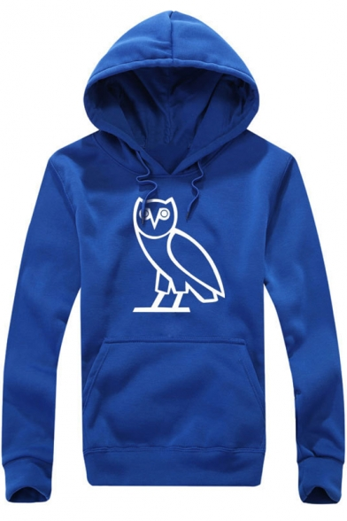 Fashion Night Owl Printed Long Sleeve Sports Casual Pullover Hoodie