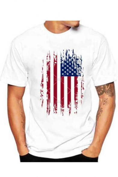 American Norwegian Flag Mens Short Sleeve T-Shirt Print Tees Tops