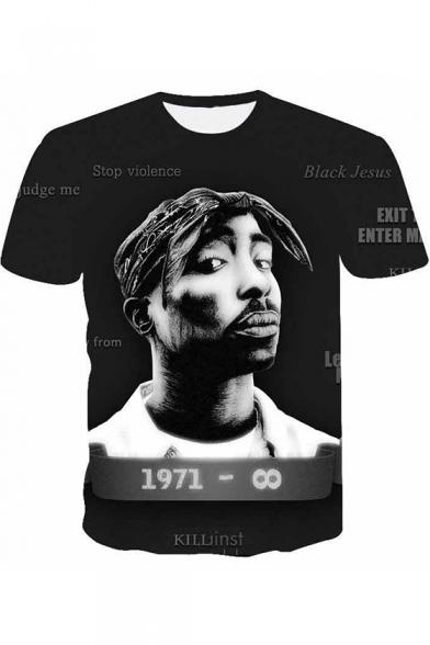 American Rapper Hip Hop Style 3D Printed Streetwear Black Souvenir T-Shirt