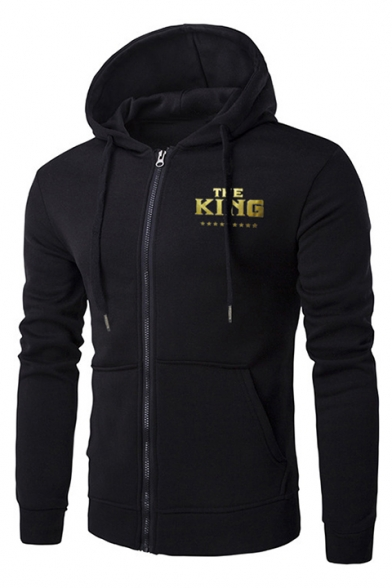New Stylish Unique Letter THE KING Print Long Sleeve Slim Fit Zip Up Drawstring Hoodie