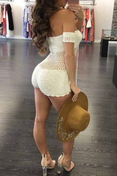 New Trendy Sexy Cut-Out Lace-Up Front Off The Shoulder Plain Knit One-Piece Swimwear