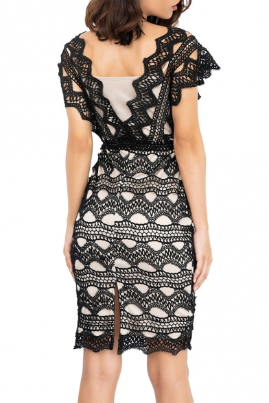 Sexy V-Neck Hollow Out Lace-Panelled Fashion Split Back Midi Pencil Dress with Liner