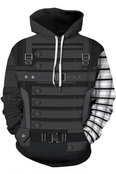 Stylish 3D Armour Pattern Loose Relaxed Grey Long Sleeve Pullover Hoodie