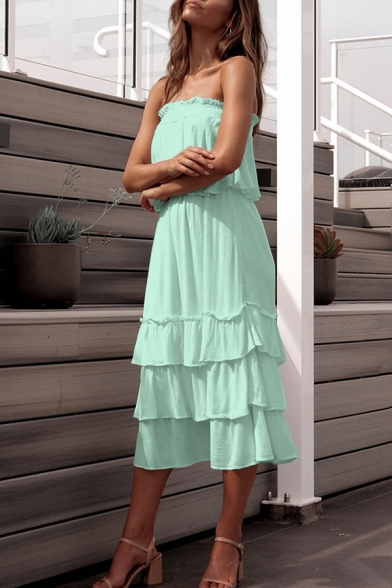 Sweet Bandeau Top Elastic Waist Ruffle Detail Layered A-Line Skirts Plain Co-ords