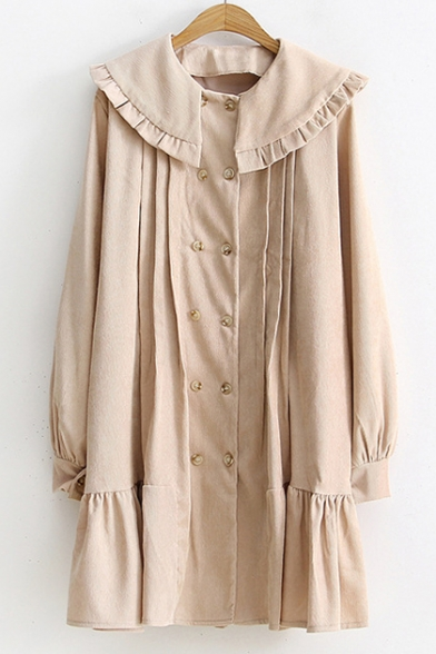 Sweet Lantern Long Sleeve Peter Pan Collar Double Breasted Ruffle Detail Plain Mini Corduroy Dress