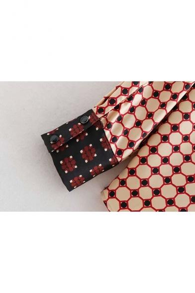 Tie Neck Long Sleeve Geometric Printed Leisure Button Down Burgundy Shirt