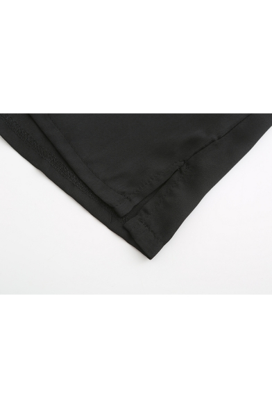 V Neck Long Sleeve Lace Up Plain Sexy Plain Chiffon Blouse