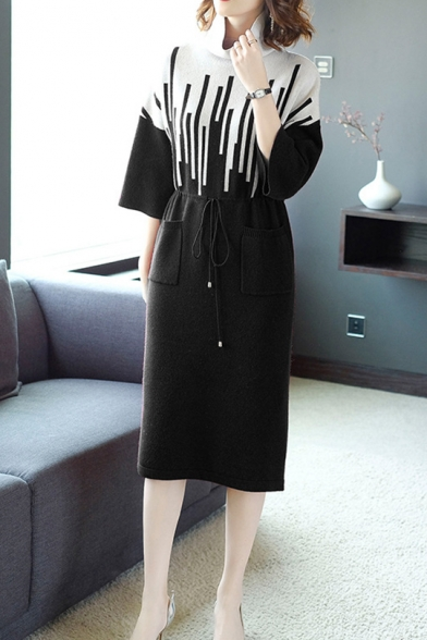 Winter's Fashion Cowl Neck Three-Quarter Sleeve Colorblock Drawstring Waist Midi Sheath Sweater Dress