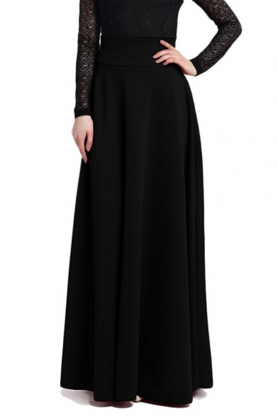 158650f9a1d Women s Basic Simple Plain High-Rise Maxi Pleated Skirt - Beautifulhalo.com