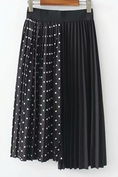 Antique Elastic Waist Polka Dot Printed Asymmetric Hem Midi Pleated Skirt