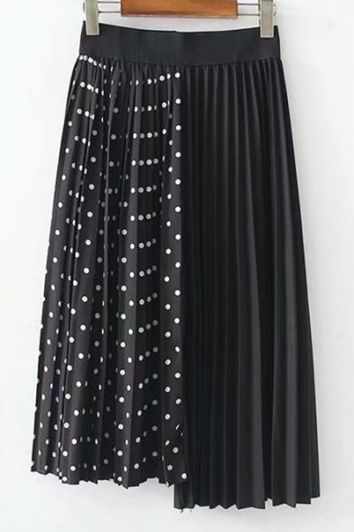 Купить со скидкой Antique Elastic Waist Polka Dot Printed Asymmetric Hem Midi Pleated Skirt