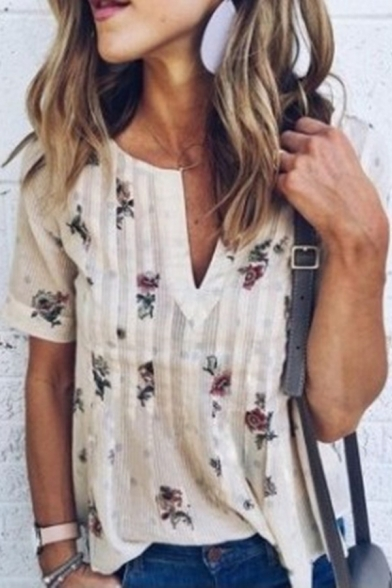 Chic Floral Printed V-Neck Short Sleeve Loose Fit Apricot Blouse