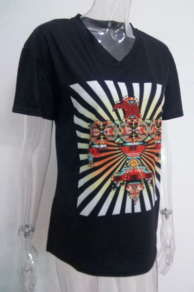 Cool Bird Printed Short Sleeve V-Neck Loose Fitted Navy T-Shirt