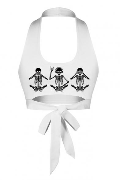 Cute Cartoon Skull Pattern Halter Neck Cropped White Tank Top