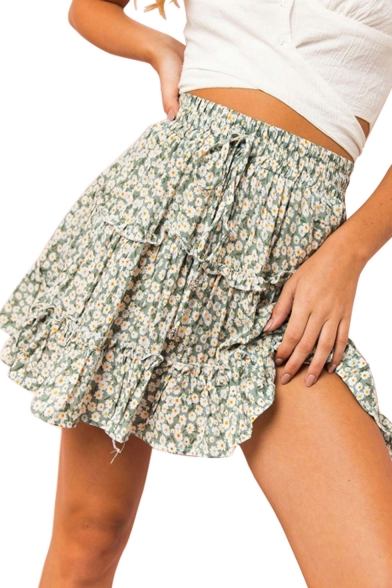 Drawstring High Waist Vintage Green Floral Printed Ruffle Hem Mini A-Line Pleated Skirt