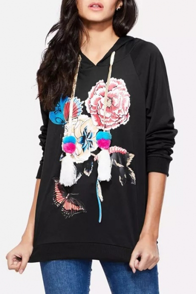 Hot Popular Butterfly Floral Printed Long Sleeve Loose Fitted Drawstring Light Hoodie, LM500047, Black;white;gray