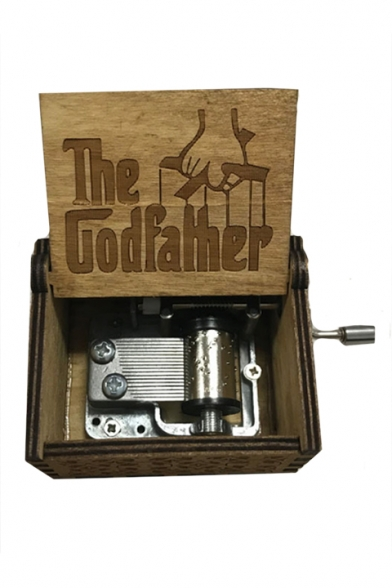 Khaki Popular Letter THE GODFATHER Graphic Print Wooden Hand Music Box
