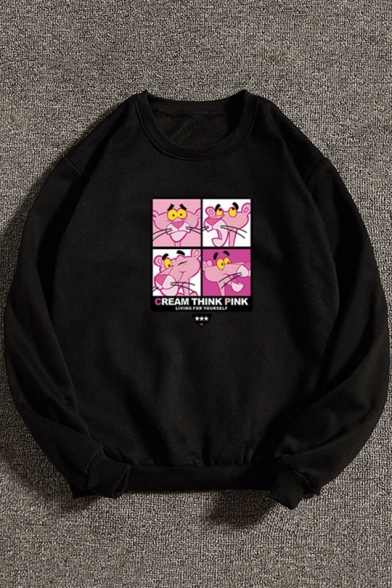 Lovely Cartoon Pink Panther Printed Crew Neck Long Sleeve Regular Fitted Pullover Sweatshirt