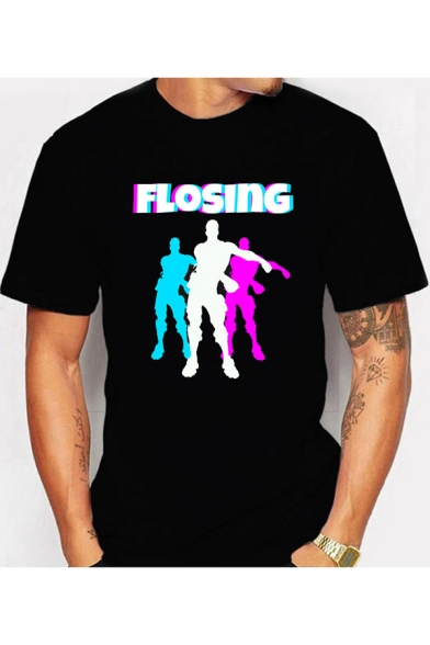 Men's New Stylish Fortnite Figure Letter FLOSING Print Black Casual T-Shirt