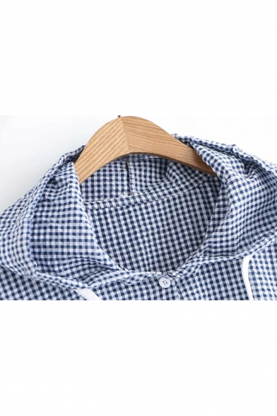 New Fashion Gingham Printed Long Sleeve Button Down Drawstring Hooded Shirt