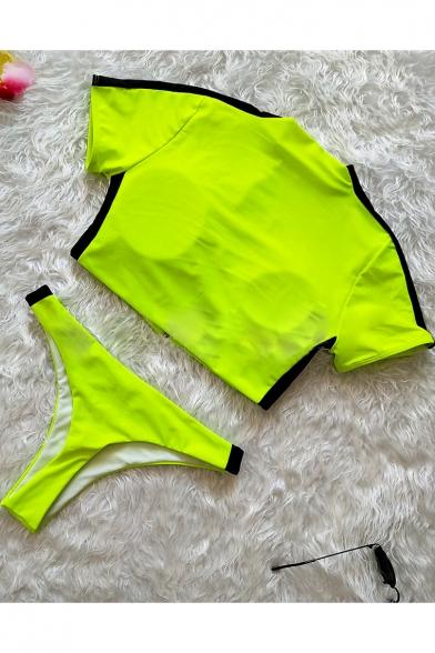 New Stylish Striped Stand Collar Cropped Zip Up Top Sexy Slim Swimwear