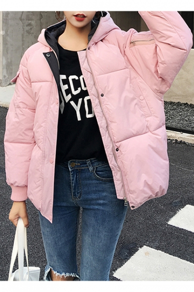 Pink Fashion Letter Print Long Sleeve Hooded Zip Up Warm Thick Cotton Padded Coat