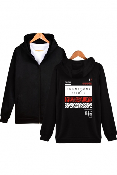 Trendy Musical Duo Letter Stripes Graphic Print Long Sleeve Fitted Zip Up Hoodie
