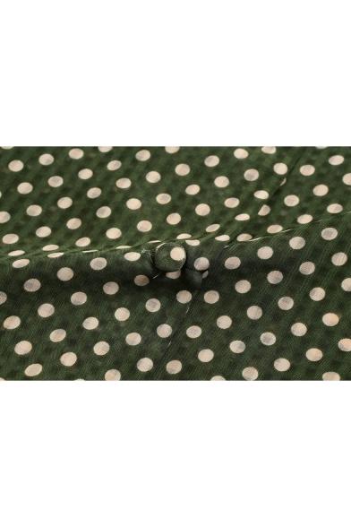 Vintage Green Polka Dot Printed Notched Lapel Collar Long Sleeve Round Hem Casual Button Shirt
