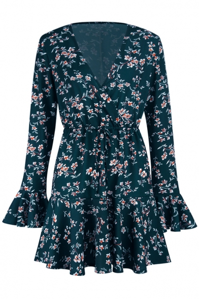 Women's Fashion Floral Printed V-Neck Flared Sleeve Mini A-Line Dress