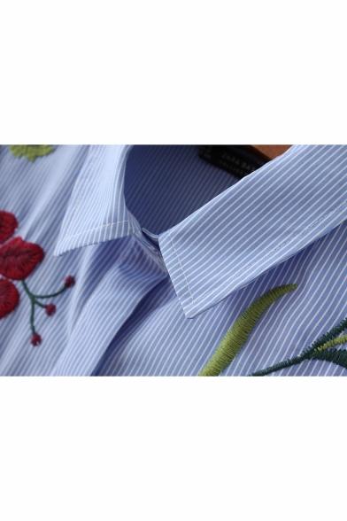 Blue Lapel Collar Long Sleeve Floral Bird Embroidered Striped High Low Asymmetric Shirt