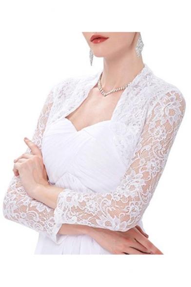 Fashion Lace-Panelled Plain Long Sleeve Open Front Cropped Shrug Coat