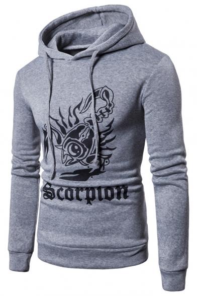 Fashion Letter Animal Scorpion Printed Long Sleeve Slim Fitted Drawstring Hoodie