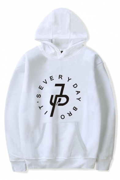 Fashion Letter JP Logo Pattern Long Sleeve Loose Casual Pullover Hoodie