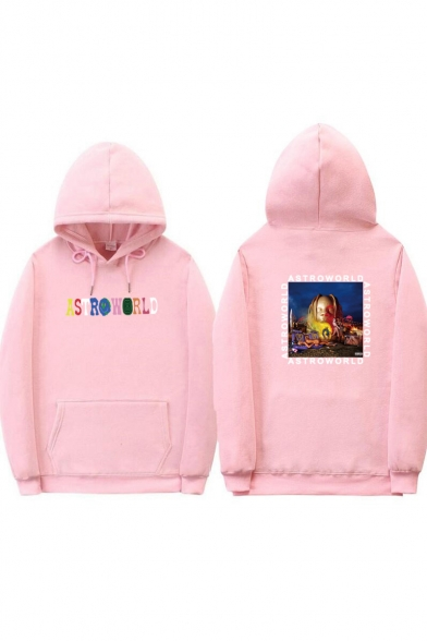 Funny Colorful Letter ASTROWORLD Print Loose Fit Graphic Hoodie for Guys