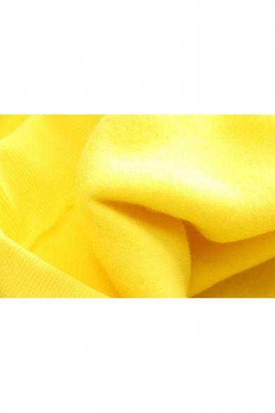 Lovely Cartoon Print Colorblock Flash Long Sleeve Yellow Ear Hoodie