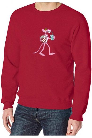 Lovely Cartoon Pink Panther Printed Crew Neck Long Sleeve Lightweight Pullover Sweatshirt