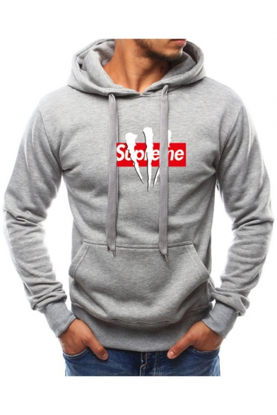 Men's Cool Letter Claw Print Long Sleeve Regular Fitted Sport Hoodie
